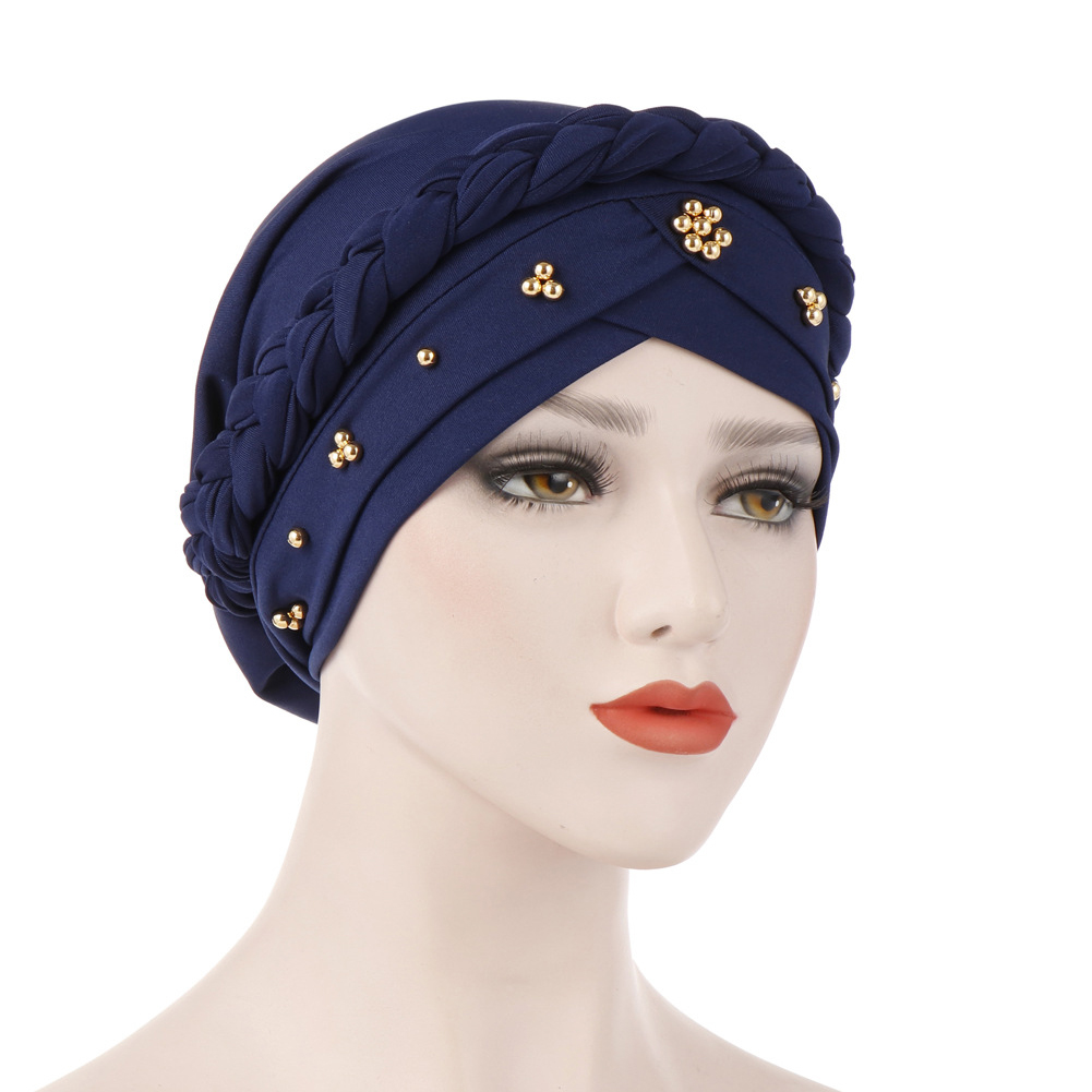 Women Beads Daily Braided Spring Autumn Cap Elastic Scarf Turban Hat Cancer Chemo Muslim Milk Silk Indian Head Wrap Hair Loss