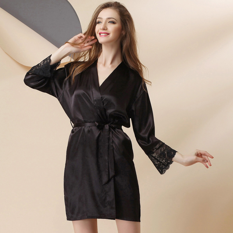 Real Silk Robe Female Summer Sexy Pajamas Ice Si Lei Silk Spring And Autumn Long Sleeve Lace-up Bathrobe Women Bathrobe One-Piec