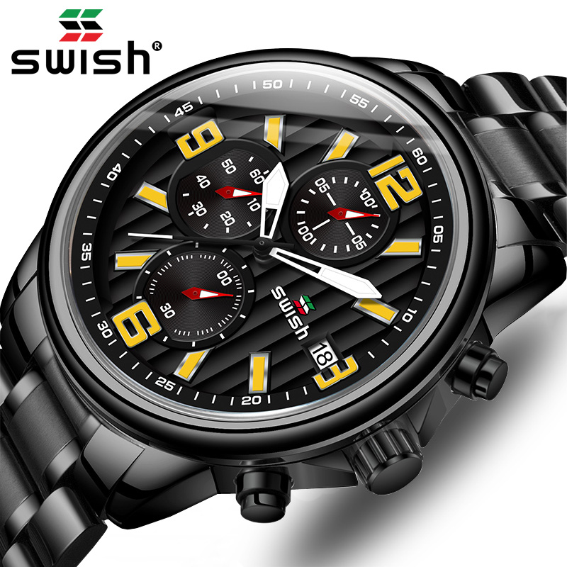 New SWISH Big Wristwatch Mens Luxury Brand Business Black Quartz Watch Mens Waterproof Chronograph Sport Clock Relogio Masculino 1