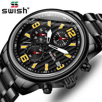 New SWISH Big Wristwatch Mens Luxury Brand Business Black Quartz Watch Waterproof Chronograph Sport Clock Relogio Masculino - discount item  90% OFF Men's Watches