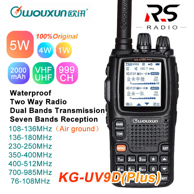 Wouxun KG-UV9D Plus Walkie Talkie CB Radio Station Transceiver Multiband 7 Band Air Frequency 108-136MHz Police 350-390MHz UV-9R