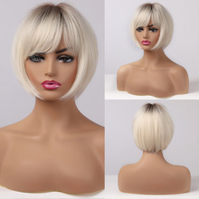 ALAN EATON Short Straight Ombre Brown Blonde Bob Wig With Bangs Synthetic Hair Wig for Women Cosplay Lolita Heat Resistant Fiber