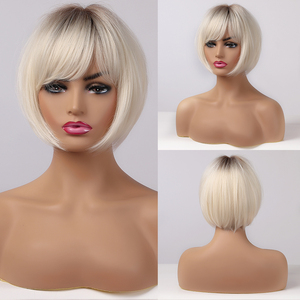 ALAN EATON Short Straight Ombre Brown Blonde Bob Wig With Bangs Synthetic Hair Wig for Women Cosplay Lolita Heat Resistant Fiber(China)