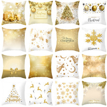Pillow case 45 * 45CM new Christmas golden snowflake print pillowcase home hotel holiday decoration square pillowcase hot sale merry christmas pillow case square pillow cases new year cartoon pillow covers size 45 45cm