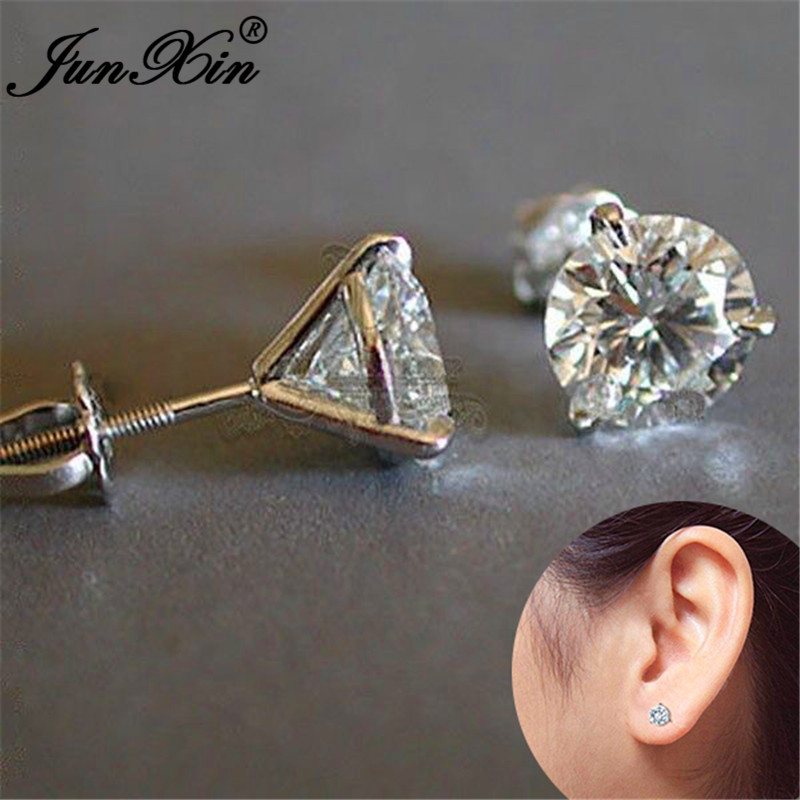 6/7/8MM Female Male Crystal Round Earrings Silver Color White Zircon Stone Simple Wedding Stud Earrings For Women Men Studs