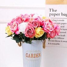 10pcs/lot Artificial Rose Flowers Bouquet Real touch Penoy 1 Bunch Silk flowers Arrange Table flores for Home Wedding Decoration
