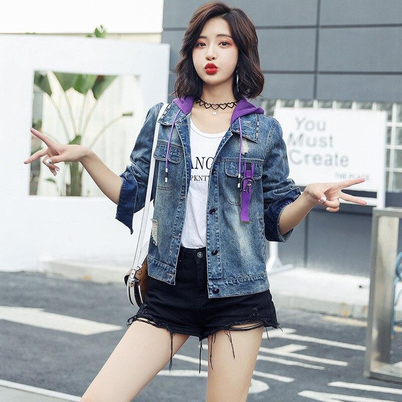 2018 осень Csyl8196 женская модная короткая ковбойская куртка с капюшоном - 3