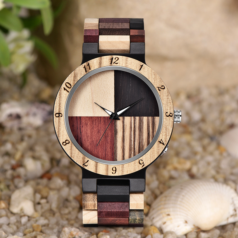 MEBENI Newest Wood Watch Men's Watch Black Brown Full Wood Bewell Wooden Direct Sales Wooden Pieces Handmade Relogio Masculino