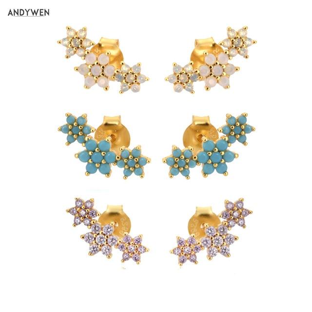 ANDYWEN 925 Sterling Silver Three Flower Stud Earring Piercing Ohrringe Luxury Women Fashion Crystal Luxury Jewelry For Wedding 1