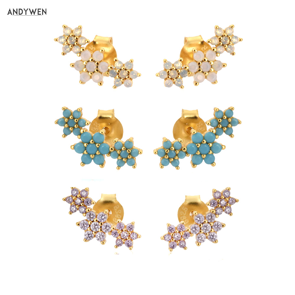 ANDYWEN 925 Sterling Silver Three Flower Stud Earring Piercing Ohrringe Luxury Women Fashion Crystal Luxury Jewelry For Wedding