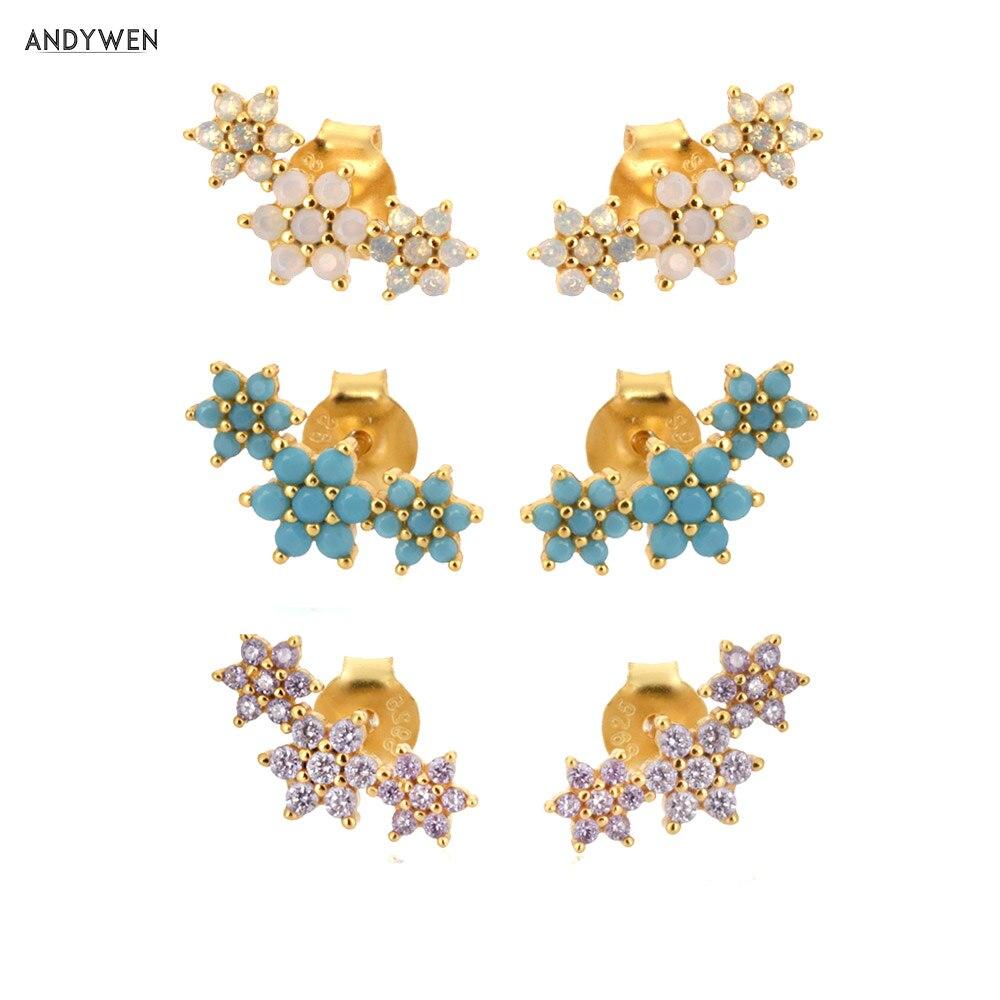 ANDYWEN 925 Sterling Silver Three Flower Stud Earring Piercing Ohrringe Luxury Women Fashion Crystal Luxury Jewelry For Wedding