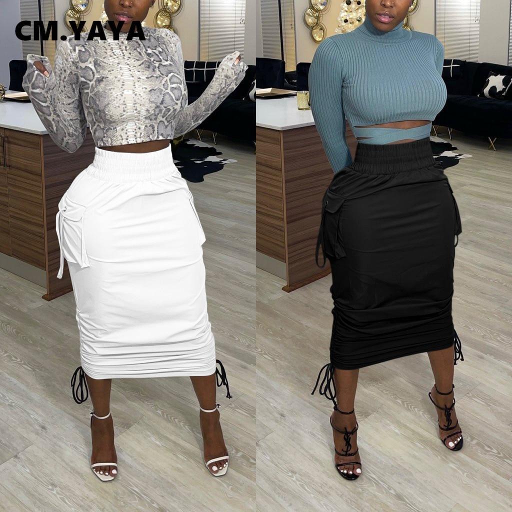 CM.YAYA kobiety wysokiej talii kieszeń boczna drapowana Bodycon spódnice Midi na spódnicę Streetwear