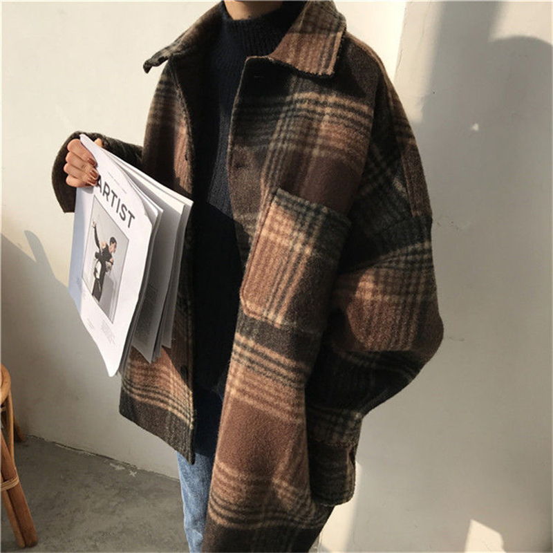 Wool Women Simple Plaid Student All match Pockets Elegant Womens Outwear Winter Warm High Quality Harajuku