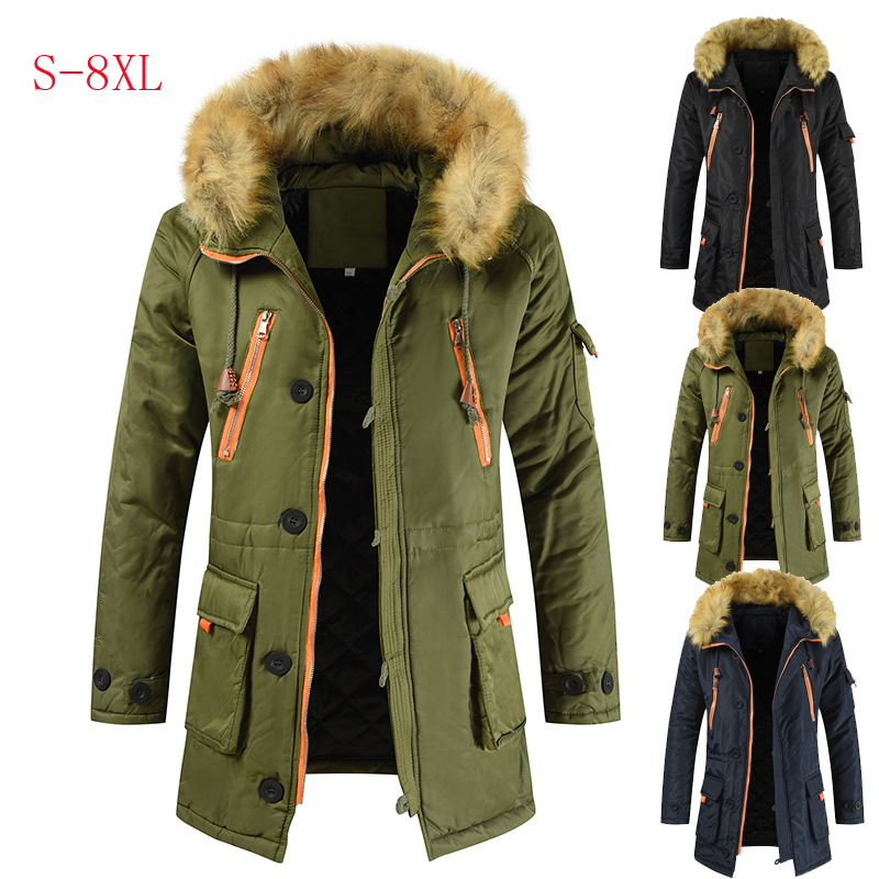 Plus Size S-8XL New Winter Jacket Men Thicken Warm Parkas Casual Long Outwear Hooded Collar Jackets And Coats Mens Veste Homme