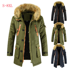 Plus Size S 8XL New Winter Jacket Men Thicken Warm Parkas Casual Long Outwear Hooded Collar Jackets and Coats Mens Veste Homme