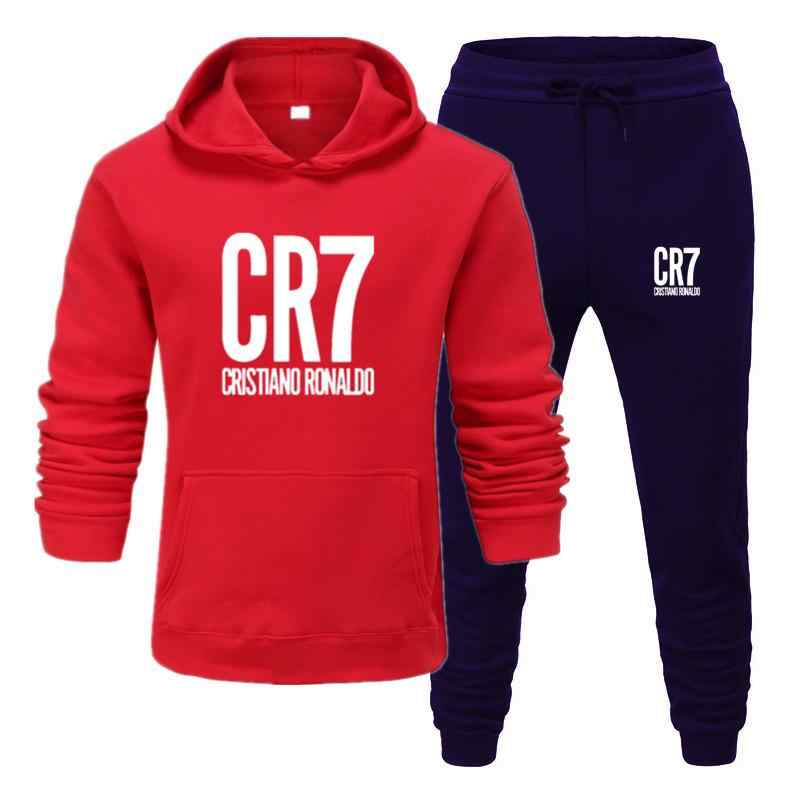 2020 CR7 Afdrukken Mannen Sets Drop Shipping Hoodies + Broek Harajuku Groothandel Sport Past Casual Sweatshirts Trainingspak Sportkleding