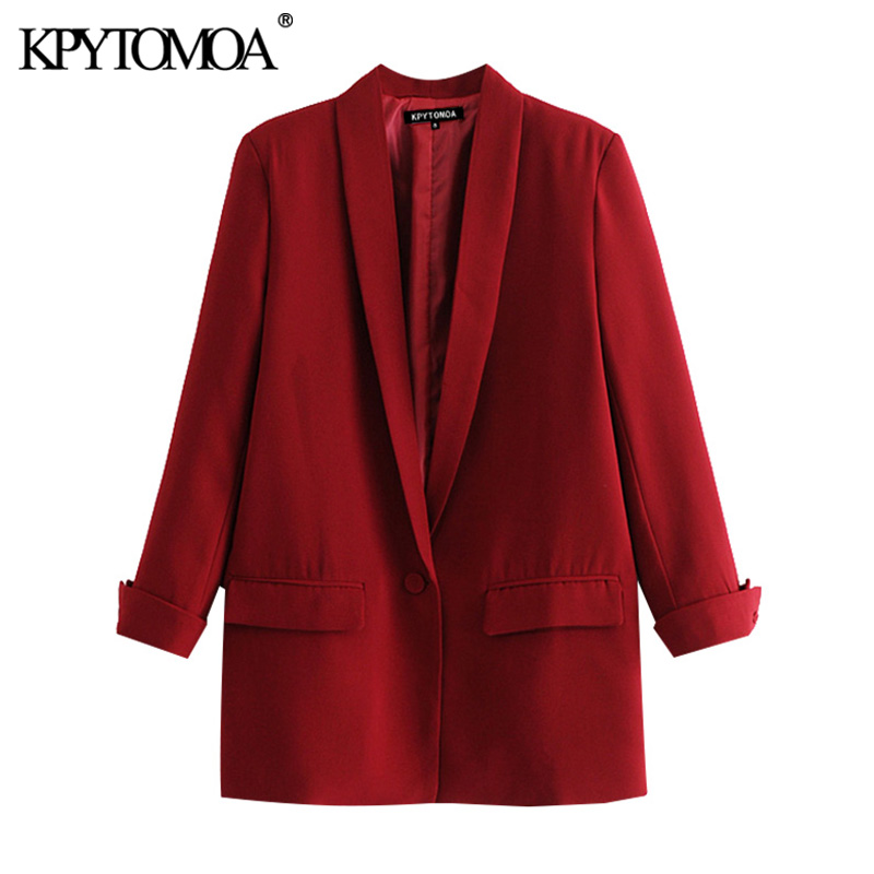KPYTOMOA Women 2020 Fashion Office Wear Pockets Blazer Coat Vintage Three Quarter Sleeve Female Outerwear Chic Tops