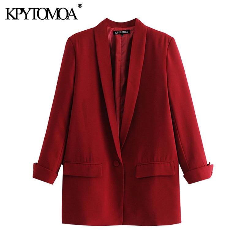 KPYTOMOA Women 2020 Fashion Office Wear Pockets Blazer Coat Vintage Three Quarter Sleeve Female Outerwear Chic Tops