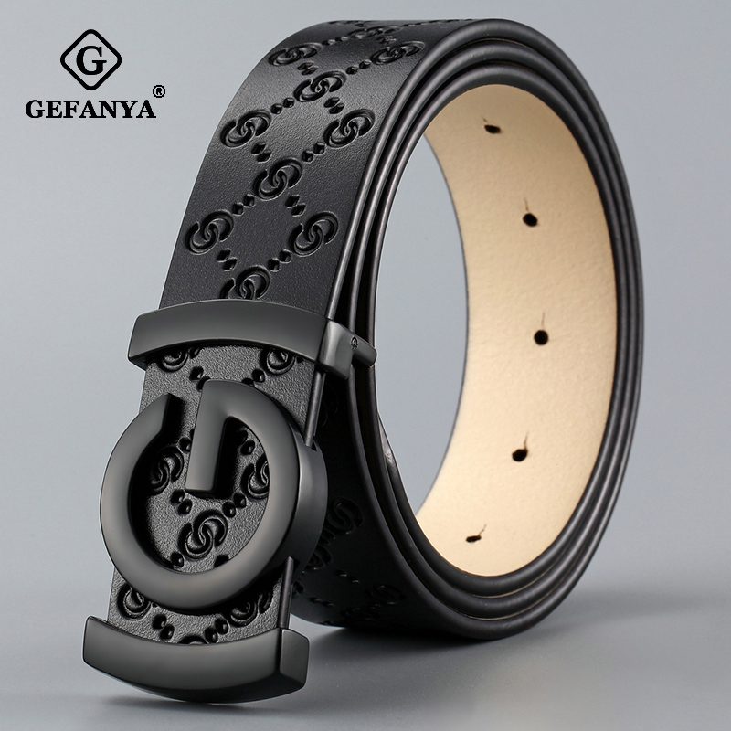 GEFANYA Fashion Cow Genuine Leather Men Belt Smooth Buckle High Quality Male Strap for Business Casual Jeans Waistband|Men