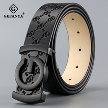 GEFANYA Fashion Cow Genuine Leather Men Belt Smooth Buckle High Quality Male Strap for Business Casual Jeans Waistband