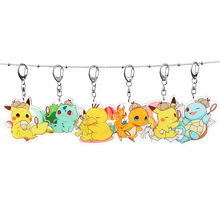 Anime Pokemon Acrylic Keychain Cute Pikachu Monsters Car Key Chain Children Bag Pendant Accessories Keyring Childhood Gifts 3d anime pokemon key ring pikachu keychain pocket monsters key chain holder pendant mini cartoon figure toys keyring k1725