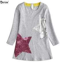 DXTON 2019 Girls Dress Long Sleeve Winter Costume Cotton Children Clothes Kids For Casual Vestidos