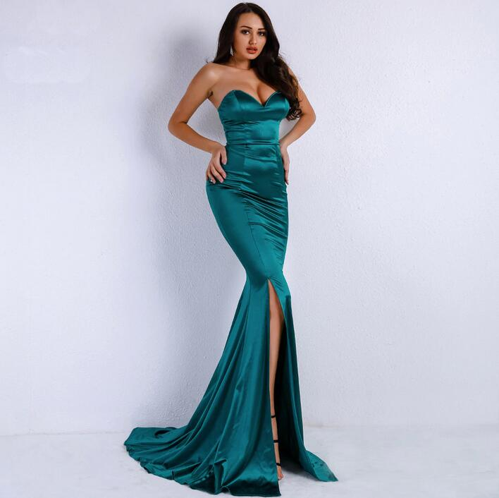 New Fashion 2020 Sweetheart Dark Green Front Split Formal Long Mermaid Prom Dresses