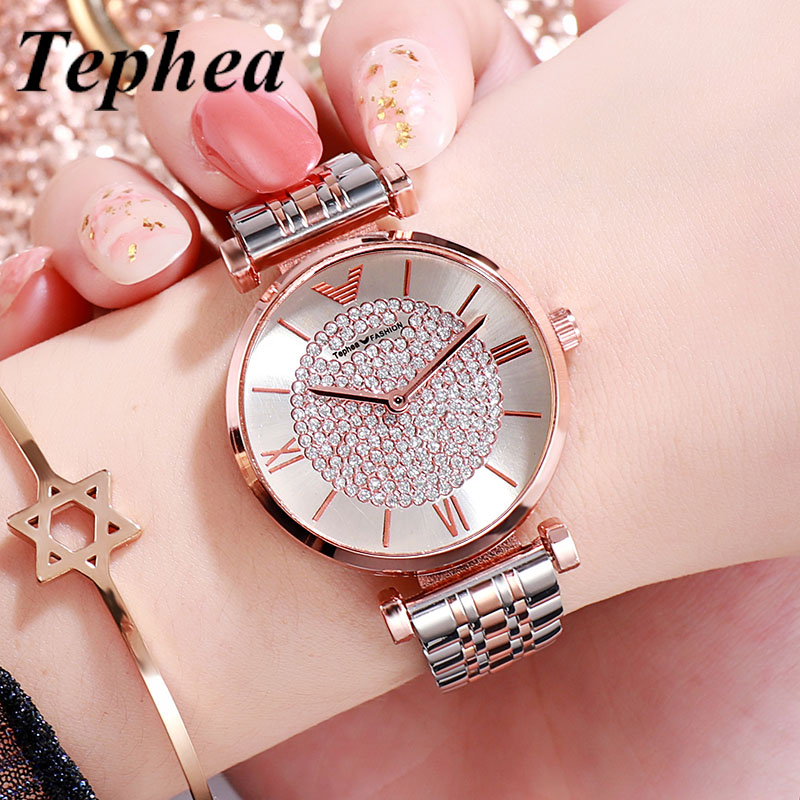 Diamond Women Watches 2019 Rose Gold Bracelet Relogio Feminino Luxury Quartz Ladies Wrist Watch For Female Watch Stainless Steel