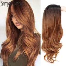 Stamped Glorious Wave Wig Ombre Black Blonde Wig Synthetic L