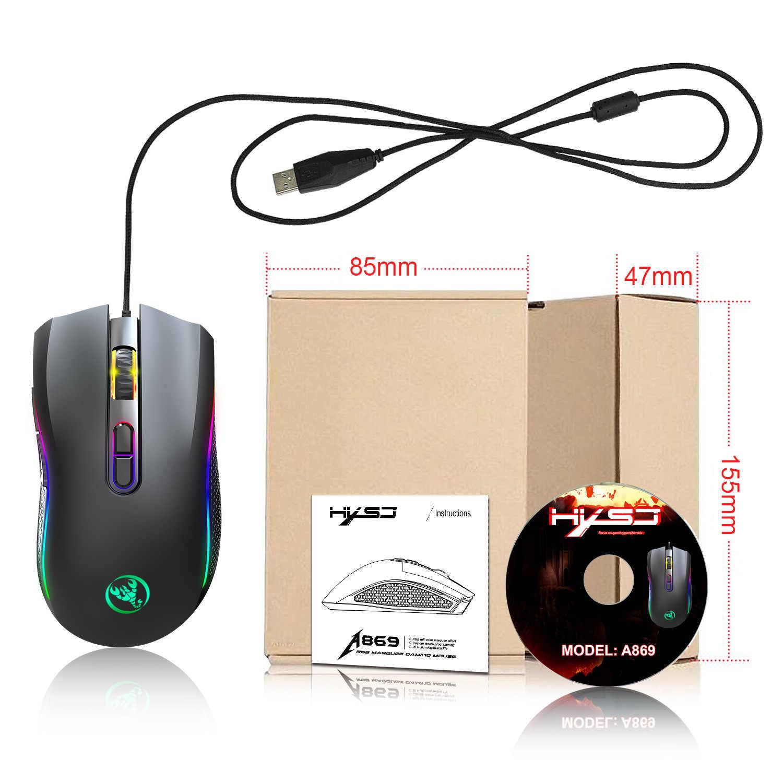 Przewodowa mysz do gier 7200DPI program makro rozdzielczości profesjonalna mysz dla gracza RGB przewodowa mysz optyczna na laptop