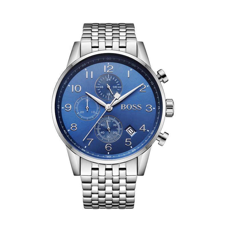Jefe navegador hombres reloj de negocios de cuarzo a prueba de agua de la marca de pulsera de acero para hombre relojes de marca superior de lujo-1513498