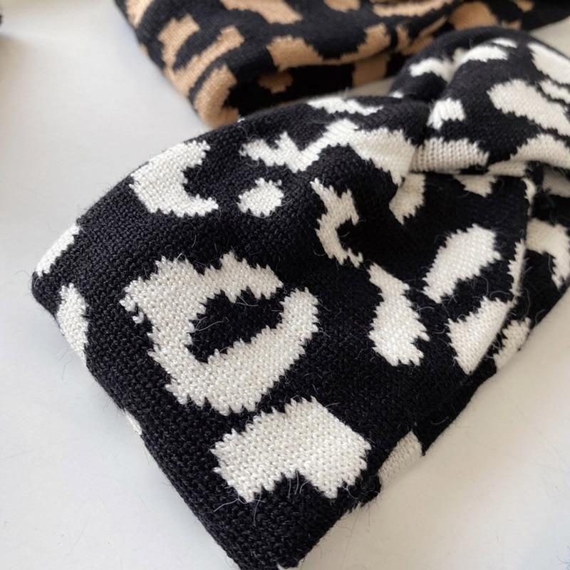 Купить зимние трикотажные повязки с буквенным принтом леопарда тюрбан