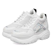 Модные женские кроссовки на платформе; Белые Повседневные кроссовки для женщин; Спортивная обувь из толстой кожи; Женская теннисная сетка; 2020