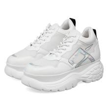 Zapatillas de deporte con plataforma para mujer, calzado deportivo grueso de piel gruesa, malla de tenis, color blanco, 2020