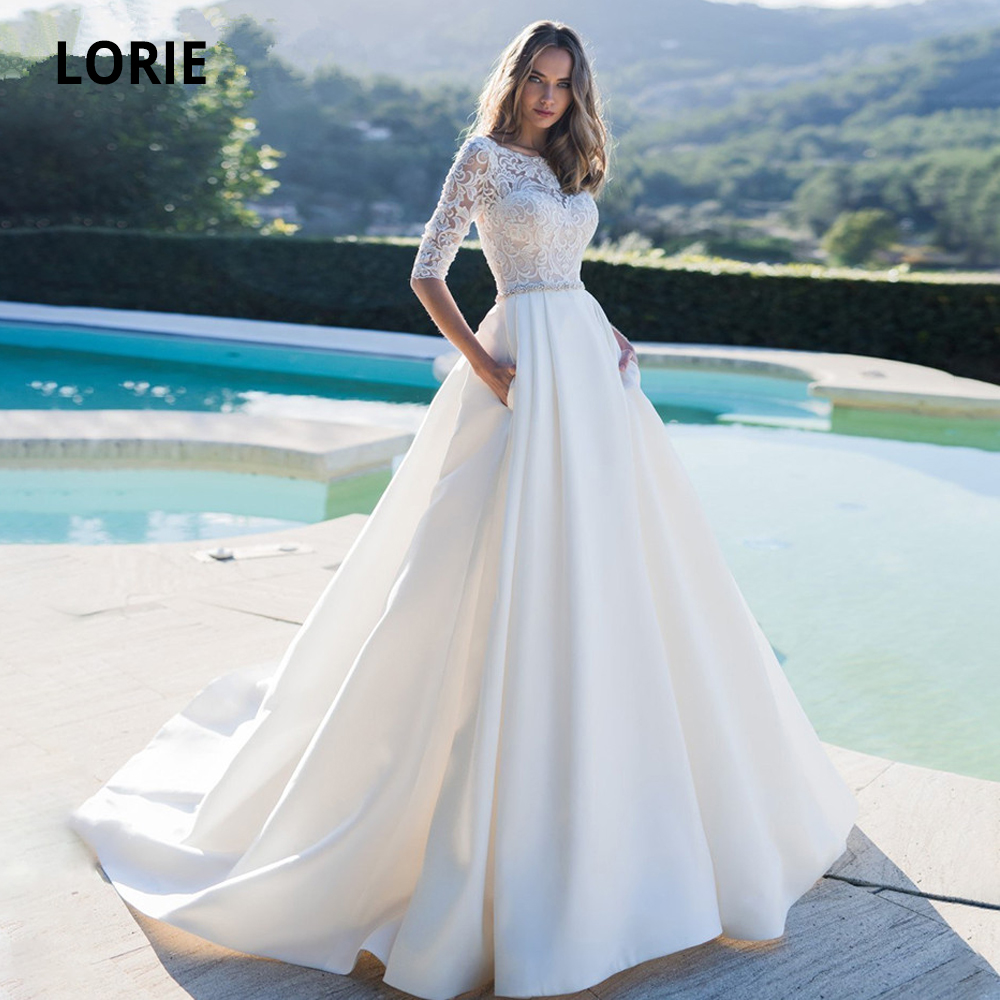 LORIE Dubai Muslim Satin Wedding Dresses For Half Sleeves Lace Beaded Belt Cheap Boho Bridal Gown Beach White Bride Dresses 2020