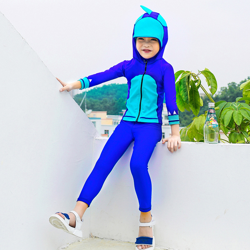 2019 KID'S Swimwear GIRL'S Long Sleeve Warm Quick-Dry Sun-resistant Siamese Swimsuit Big Boy Men And Women Children Diving Suit