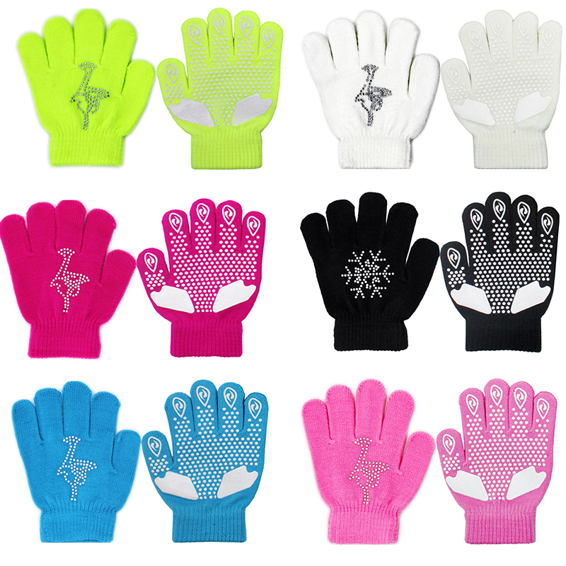 Winter Colorful Figure Skating Wrist Gloves Warm Hand Protector Thermal Safety For Kids Girls Skates Rhinestone Random Style