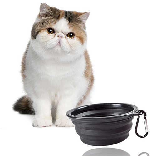 Foldable 개 고양이 애완 동물 여행 음식 먹이 그릇 물 접시 휴대용 실리콘 그릇 휴대용 실리콘 개 그릇 애완 동물 액세서리