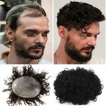 Système de remplacement de cheveux pour hommes, couleur 1B, peau Super fine, Base complète en Poly, nœuds en V, Toupet Hombre, perruque, postiche