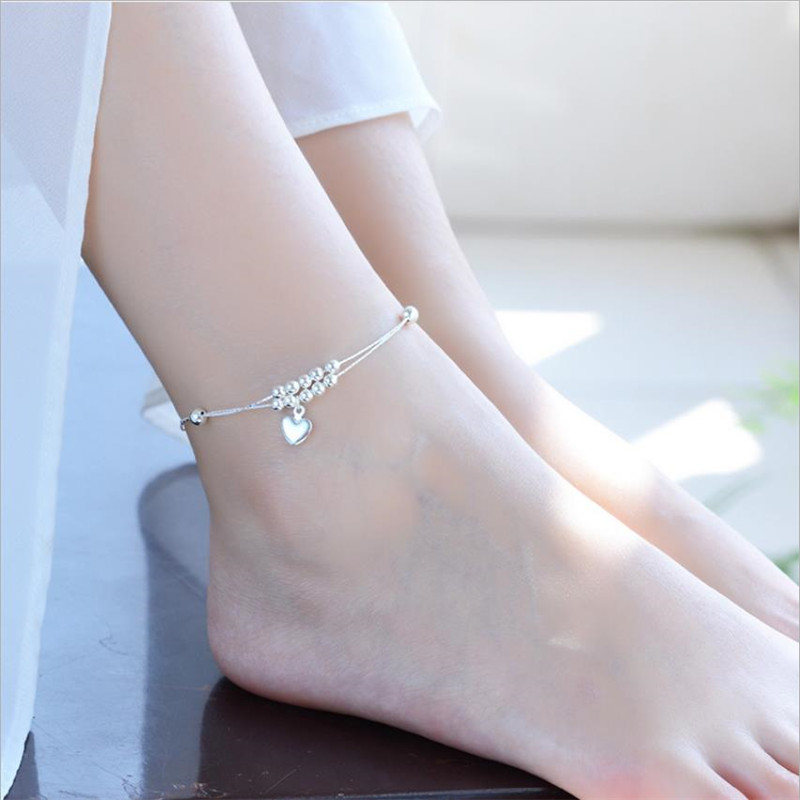 Charm Silver 925 Girls Anklets Jewelry Female Fashion Heart Ball Bracelet For Women Double Layer Bracelets Lady Birthday Gift