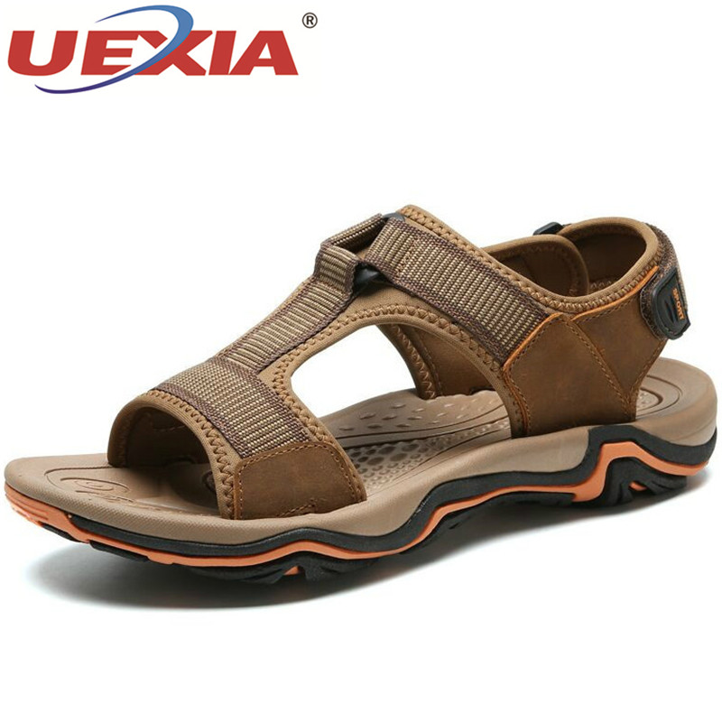 UEXIA Brand Men Leather Splice Sandals Fashion Slippers Male Breathable Summer Beach Shoes Sandals Casual Men Shoes Size 38~45