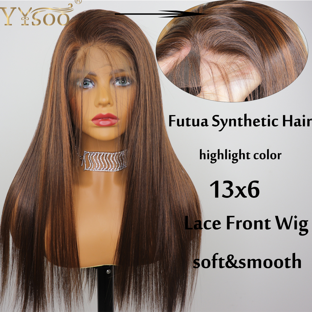 YYsoo Long #4/30 Highlight Japan Futura Synthetic Lace Front Wigs13x6 Pre Plucked 6inch Deep Part Silky Straight Wigs Baby Hair