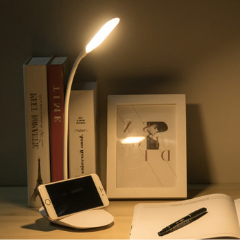 LED Stand Desk Lamp for Reading USB/Battery Rechargeable Flexible Touch Switch Control Dimmable Study Night Light Table Lamp image