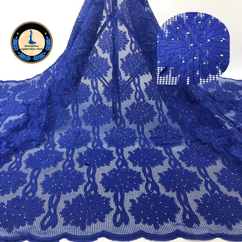 New Africa Lace Fabric High Quality French Embroidery decal With stones lace Fabric Grid design Used for women Wedding dress