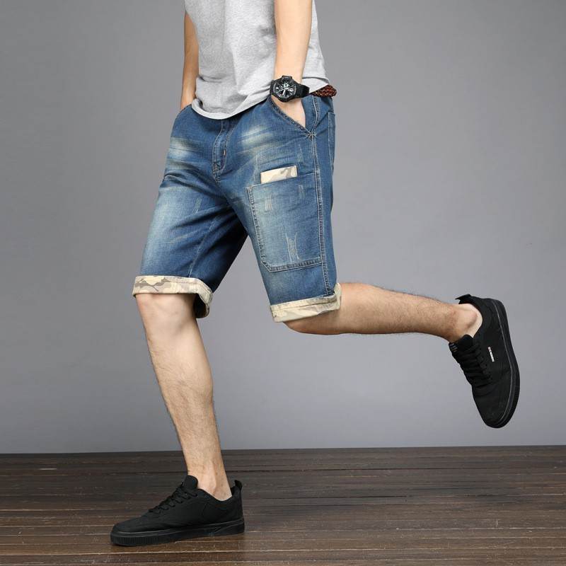 Summer Mens Plus Size 48 Knee Length Short Jeans Stretch Casual Loose Fit Denim Shorts Pockets Streetwear Jeans Bermuda Shorts