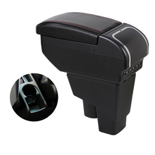 Armrest-Box Central-Storage-Box Jazz Honda Car for Fit 2002-2007 Usb-Interface Microfiber