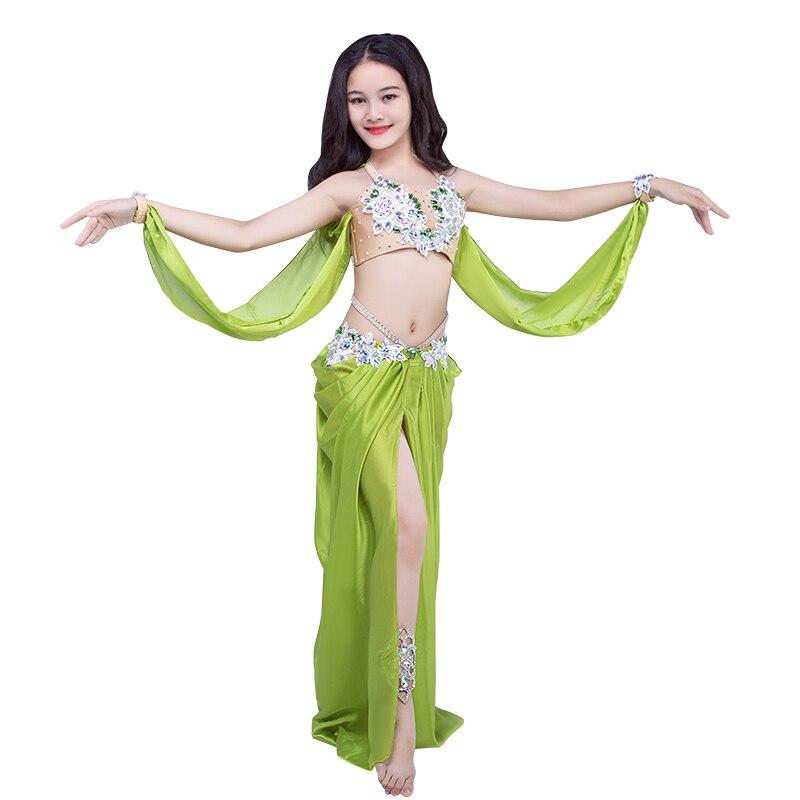 Новые детские костюмы для танца живота, детская одежда для танцевального шоу, бюстгальтер + длинная юбка, комплект для танцев для девочек rt509