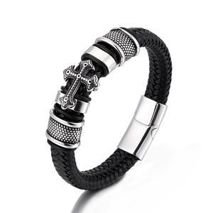 Классическая Ручная кожаная веревка, плетеный браслет, мужская мода, магнитная застежка, браслет из нержавеющей стали, мужские панк ювелирн...