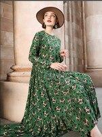 Spring and autumn 2020 new long sleeve printed silk dress women's loose medium long mulberry silk