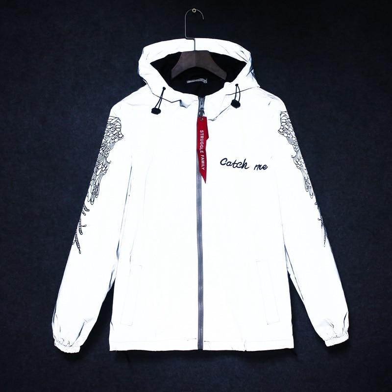 BOLUBAO Men Reflective Jackets Coats Trend Brand Men's High Street Letter Print Fashion Jacket Windproof Hooded Jacket Coat Male